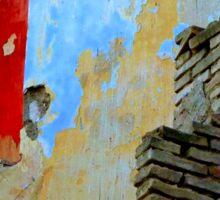 Greek wall. Abandoned. Sticker