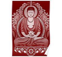 Gautama Buddha White Halftone Poster