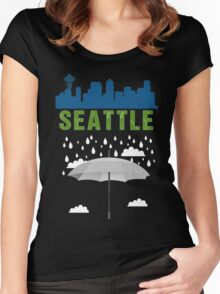 Seattle Graphic tee SEATTLE skyline city raining  Women's Fitted Scoop T-Shirt