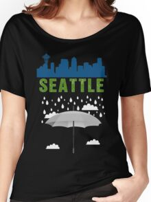 Seattle Graphic tee SEATTLE skyline city raining  Women's Relaxed Fit T-Shirt