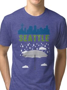 Seattle Graphic tee SEATTLE skyline city raining  Tri-blend T-Shirt