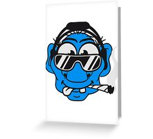 dj cool club joint smoking cannabis bong drug cannabis weed sunglasses headphones disco music dance party troll gnome kiffer face Greeting Card