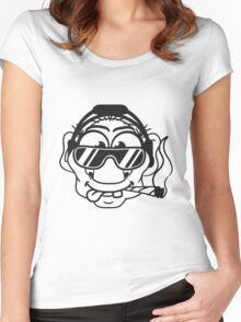 dj cool club joint smoking cannabis bong drug cannabis weed sunglasses headphones disco music dance party troll gnome kiffer face Women's Fitted Scoop T-Shirt