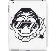 dj cool club joint smoking cannabis bong drug cannabis weed sunglasses headphones disco music dance party troll gnome kiffer face iPad Case/Skin