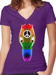 Gay mask design_3 Women's Fitted V-Neck T-Shirt