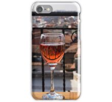 A Dreamy Glass of Rose - Enjoying a Fabulous View from a Wrought Iron Balcony iPhone Case/Skin
