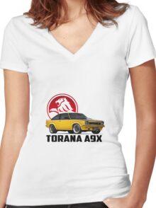 Holden Torana - A9X Hatchback - Yellow 2 Women's Fitted V-Neck T-Shirt