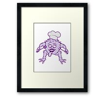 eat cook chef chef hat mustache mustache delicious horror halloween monster french chef restaurant Framed Print