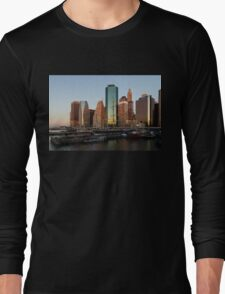 Just Before Sunrise - Manhattan Skyline and South Street Seaport Historic Ships Long Sleeve T-Shirt