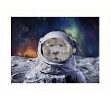 Astro Blur w/ White Lion - Galaxy Beyond Art Print