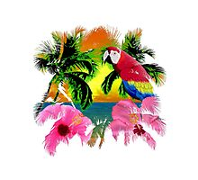 Parrot And Palm Trees Photographic Print