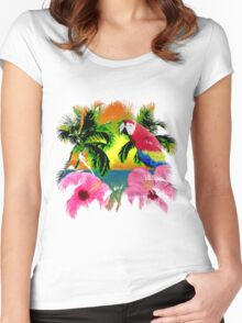 Parrot And Palm Trees Women's Fitted Scoop T-Shirt