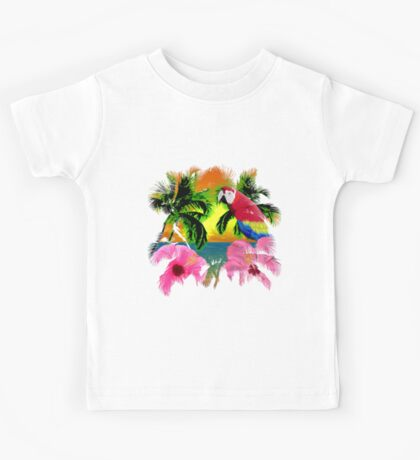 Parrot And Palm Trees Kids Tee
