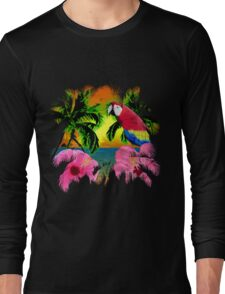 Parrot And Palm Trees Long Sleeve T-Shirt