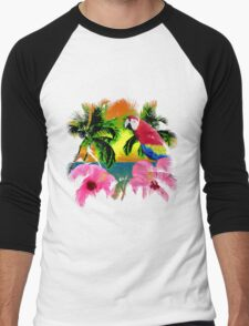 Parrot And Palm Trees Men's Baseball ¾ T-Shirt