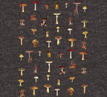 Minimalist Mushroom Antique Print Zipped Hoodie