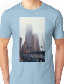 Foggy skyscrapers Unisex T-Shirt