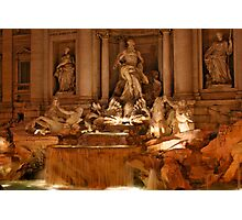Trevi Fountain at Night Photographic Print