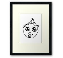 baby monster horror halloween monster ugly disgusting pacifier child girl boy funny face head Framed Print