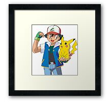 Pokemon - Ash & Pikachu #1 - High Quality! Framed Print