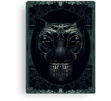 Creepy Mask Portrait with Ornate Borders Canvas Print