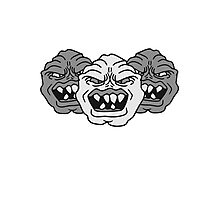 3 monster heads faces angry grimace horror halloween buddies team party evil Photographic Print