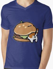 Neko Atsume Cheese Burger Mens V-Neck T-Shirt