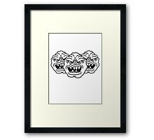 3 monster heads faces angry grimace horror halloween buddies team party evil Framed Print