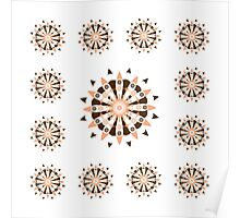 White Brown And Peach Medallions Poster