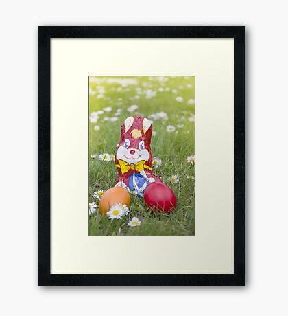 Wrapped Chocolate Bunny with Easter Eggs in the Grass Vertical Framed Print