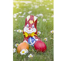 Wrapped Chocolate Bunny with Easter Eggs in the Grass Vertical Photographic Print