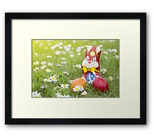 Wrapped Chocolate Bunny with Easter Eggs in the Grass Horizontal Framed Print