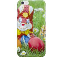 Wrapped Chocolate Bunnies with Easter Eggs in the Grass iPhone Case/Skin