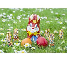 Wrapped Chocolate Bunnies with Easter Eggs in the Grass Photographic Print