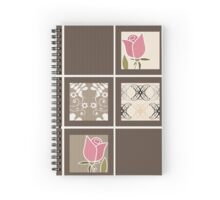 Print fabric textile pattern with elements retro patchwork design background Spiral Notebook