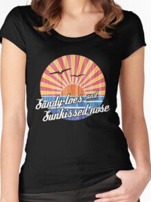Sandy Toes Sun Kissed Nose Beach Graphic Women's Fitted Scoop T-Shirt