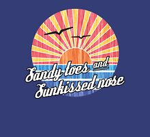 Sandy Toes Sun Kissed Nose Beach Graphic Womens Fitted T-Shirt