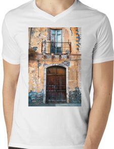 Sicilian Facade of Taormina Mens V-Neck T-Shirt