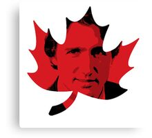 Justin Trudeau Maple Leaf Canvas Print