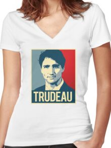 Trudeau Poster Art Women's Fitted V-Neck T-Shirt