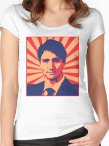 Justin Trudeau Propaganda Art Women's Fitted Scoop T-Shirt