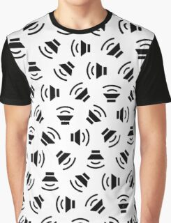 Music On (Black on White) Graphic T-Shirt