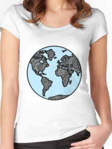 Blue World Map with Mandala Details Women's Fitted Scoop T-Shirt