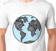 Blue World Map with Mandala Details Unisex T-Shirt