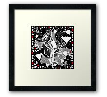 black and white abstract with touch of red Framed Print