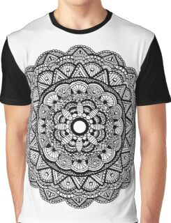 Mandala 001 - Black and White Graphic T-Shirt