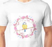 Bird and pink flowers Unisex T-Shirt