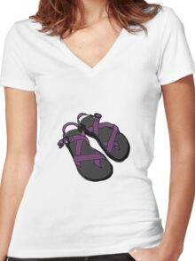 Illustration of Chaco Sandals - Purple Women's Fitted V-Neck T-Shirt