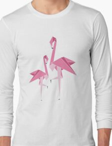 Origami Flamingo Long Sleeve T-Shirt