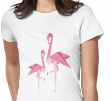Origami Flamingo Womens Fitted T-Shirt